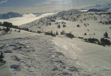 Schneeschuhwandern über der Nebelgrenze